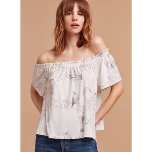 Aritzia Wilfred White Sartre Off-The-Shoulder Top
